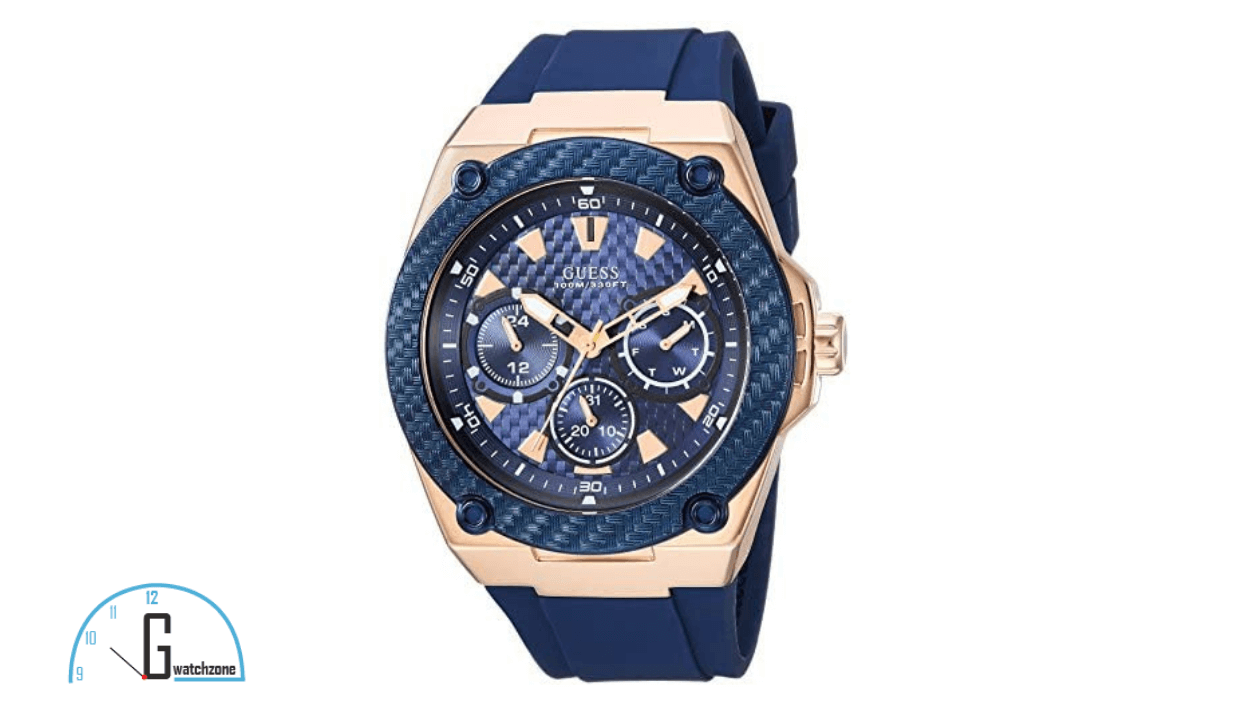 GUESS Men's Blue  Stainless Steel Casual Silicone Watch