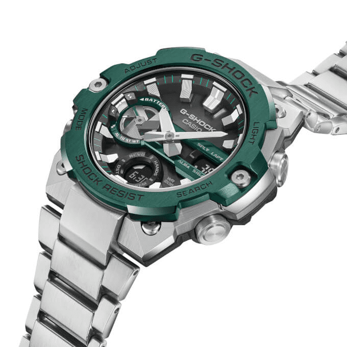G-Shock G-STEEL GST-B400CD-1A3DR Green ion plated Bezel
